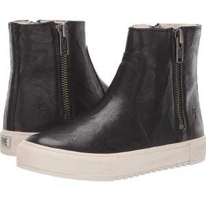 Frye Gia Lug shearling double zipper sneaker
